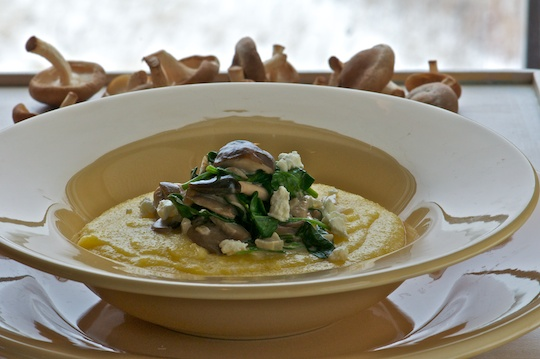 Soft goat cheese polenta with mushrooms and spinach olive oil and lemons - Pizzeria venecia marbella ...