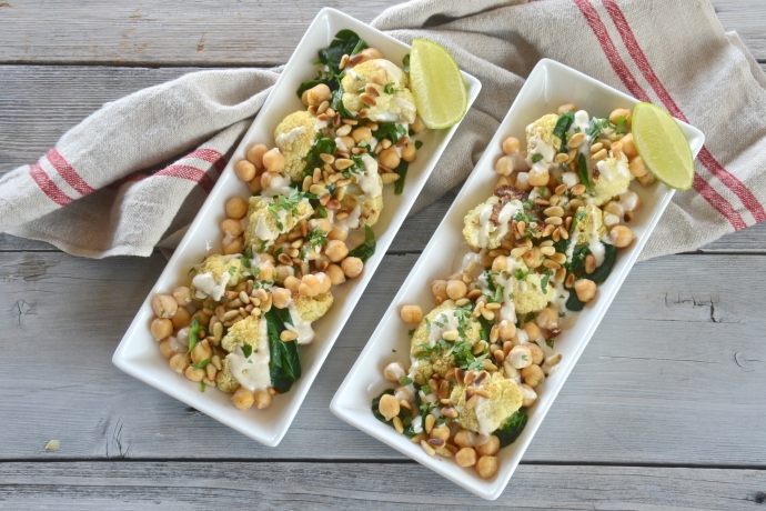 Roasted cauliflower with chickpeas pine nuts and tahini sauce olive oil and lemons - Pizzeria venecia marbella ...