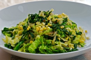 Skillet cabbage, kale and broccolini