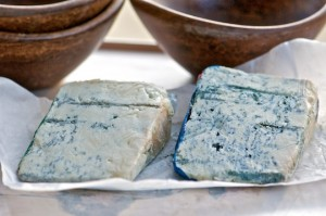 Blue veined cheeses Gorgonzola and Roquefort