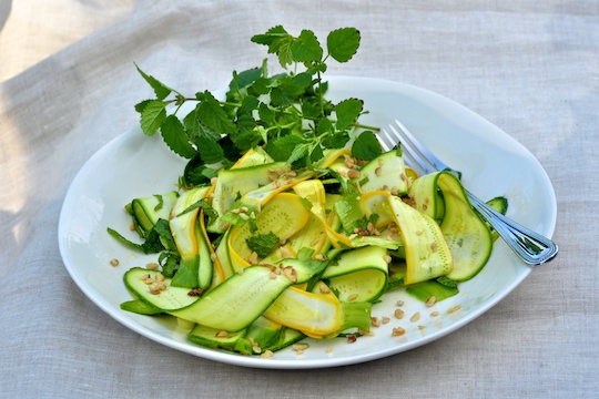 In the Raw: Zucchini Ribbon Salad with Walnuts and Goat Cheese ...