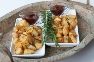 Rosemary roasted potatoes with blackberry ketchup