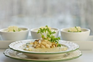 Polenta with pears and gorgonzola
