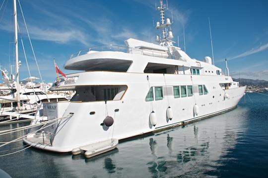 Super yacht Shaf at Puerto Bañus harbour