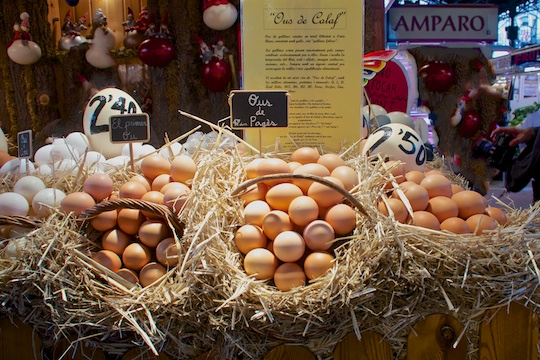 Egg vendor at La Boqueria, Barcelon
