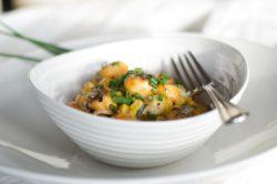 Gnochi with corn and cream
