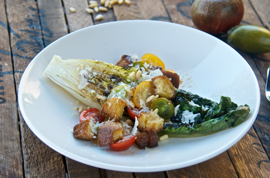 Grilled romaine with heirloom tomatoes