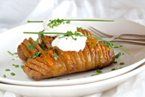 Hasselback white potatoes