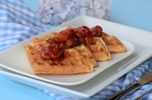 Buttermilk waffles with cherry compote