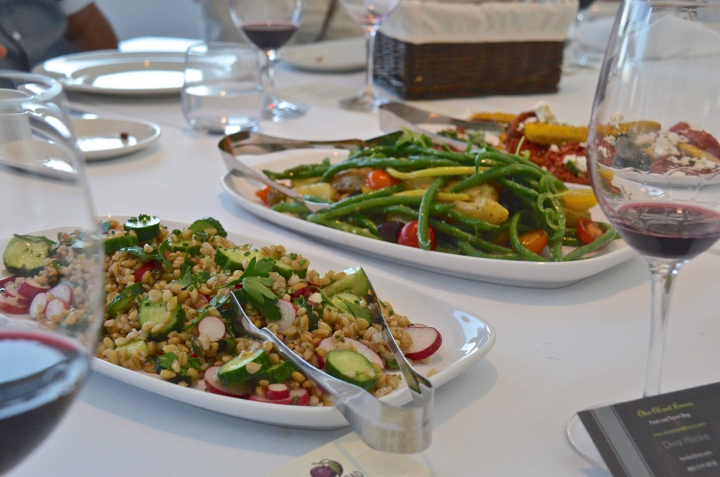 Organic Fieldstone Granary barley salad with radishes and cucumbers, Nicoise style salad with olives, beans, portatoes and dijon vinaigrette