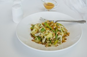 Cabbage, farro and vegetables