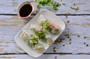 Mango salad rolls with chili-lime dipping sauce
