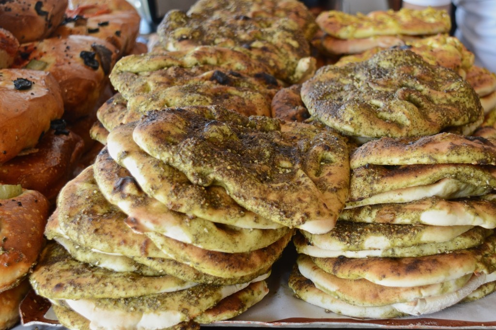 Pita with za'atar at shuk ha'carmel