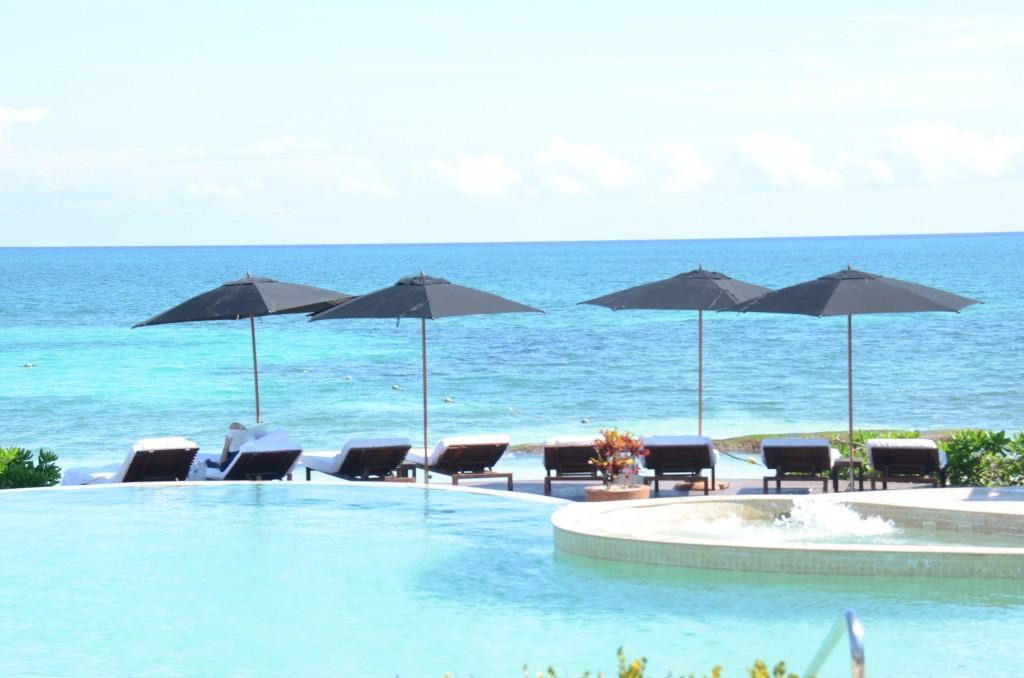 Beach and pool at the Rosewood Mayakoba