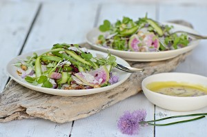 Shaved asparagus salad with chive flower vinaigrette
