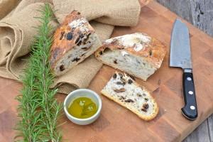 Olive rosemary no knead bread