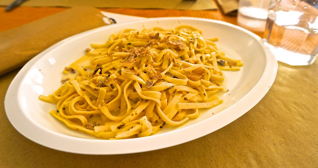 Tagliatelle with truffles at the Associaton's restaurant
