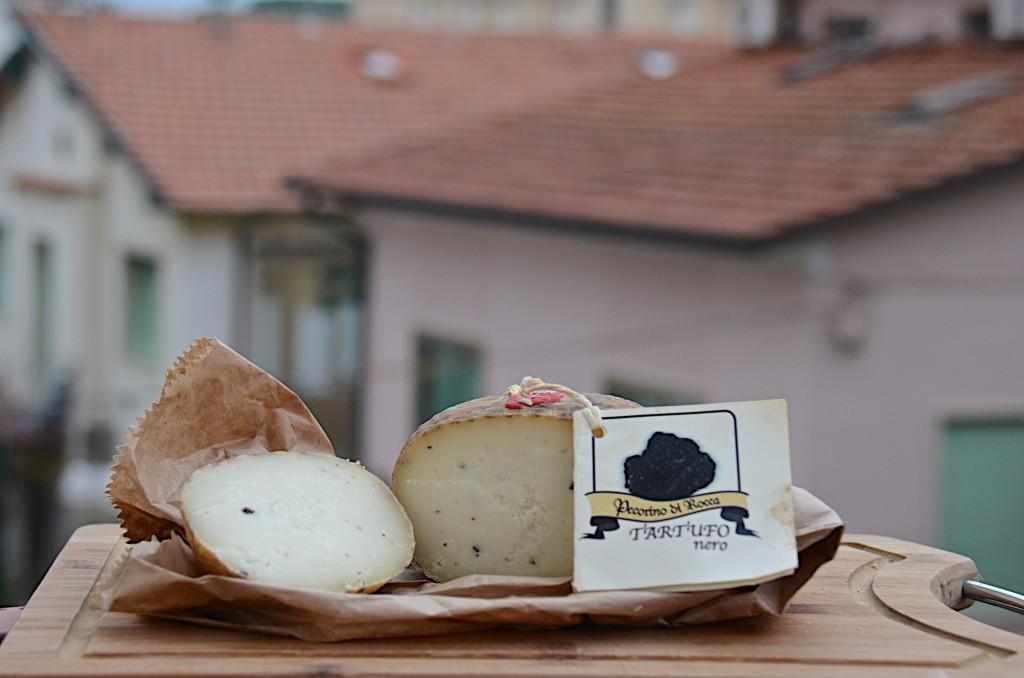 Pecorino with white truffles