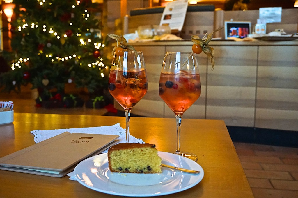 Cake and pink spritzers at the Adler Thermae Spa