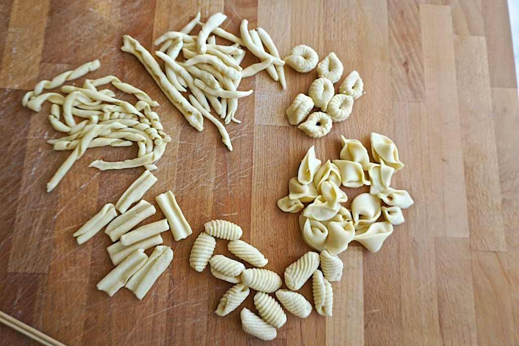 Hand rolled pasta shapes