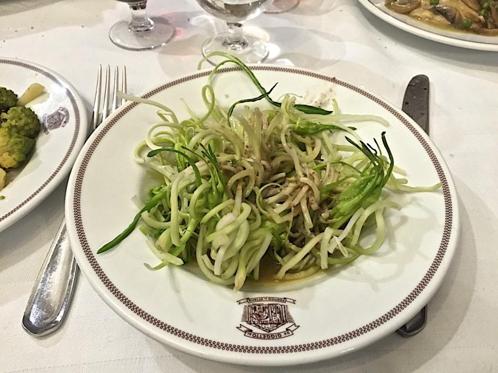 Puntarelle salad at da Giggetto in the Jewish ghetto
