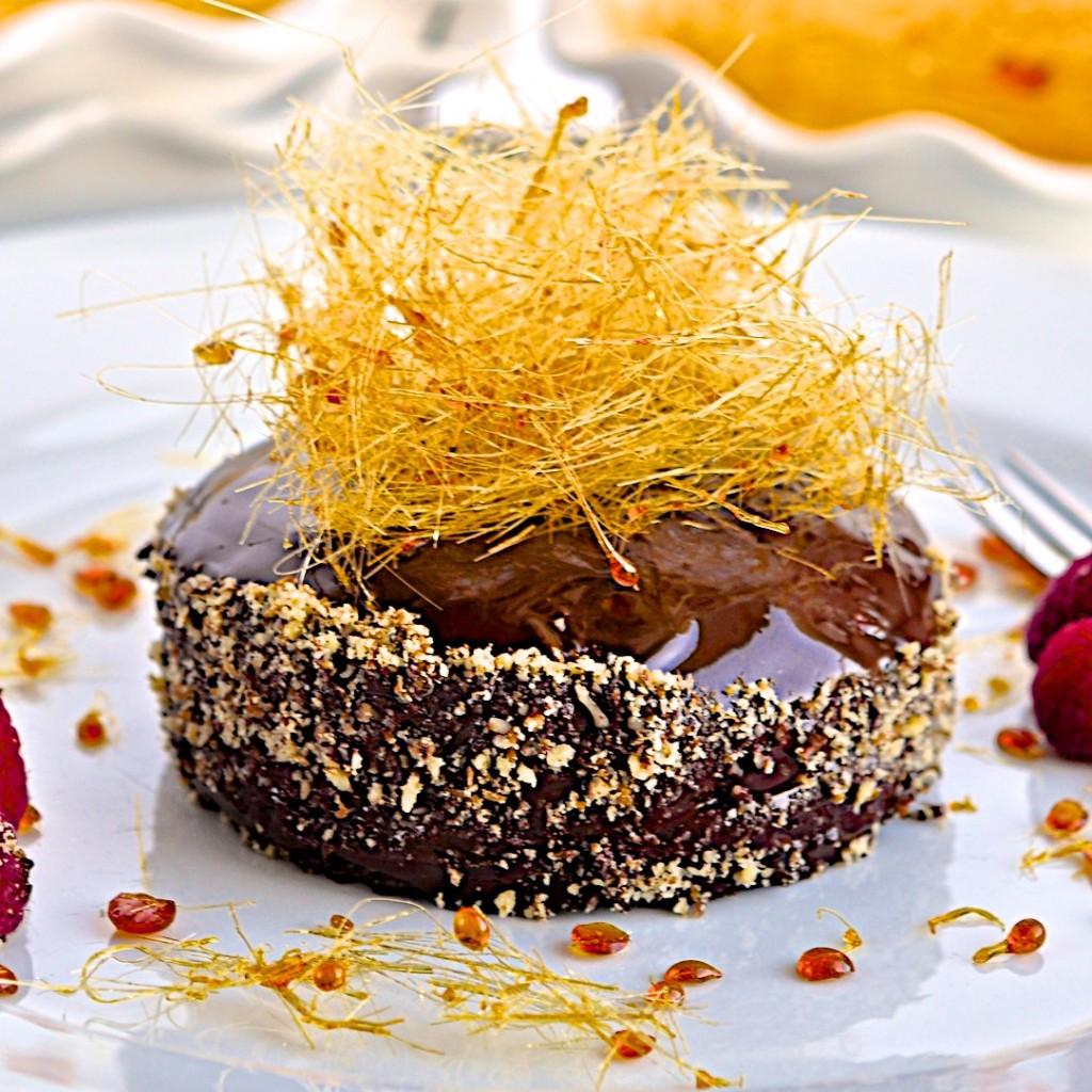 Chocolate cake with spun sugar