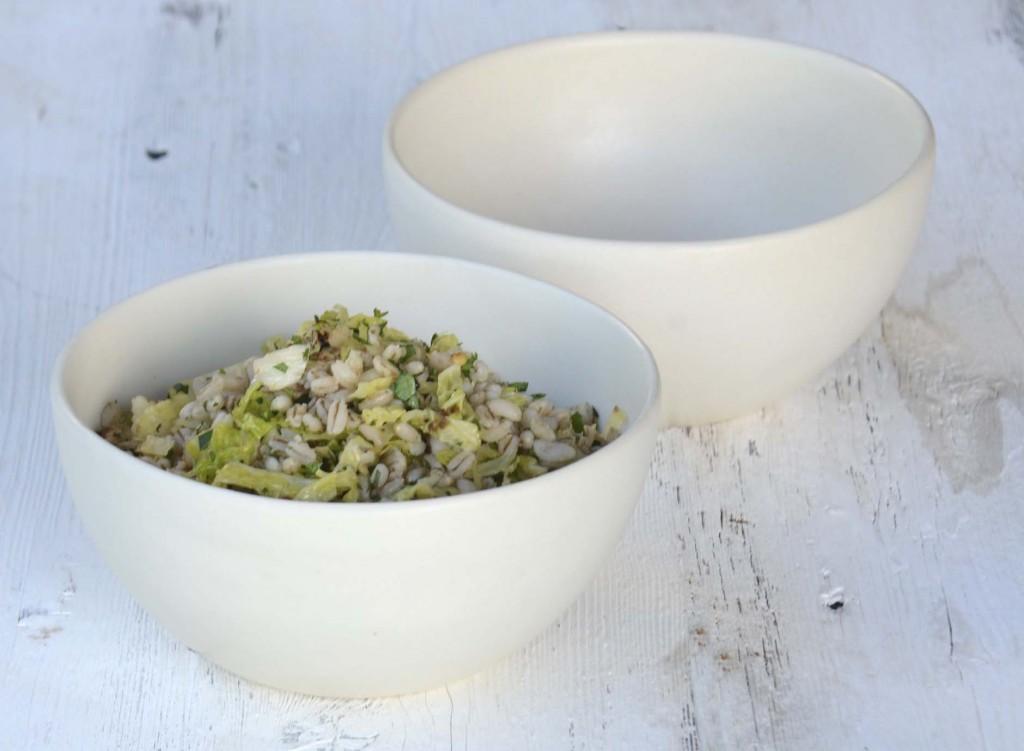 Barley, cauliflower and cabbage bowl