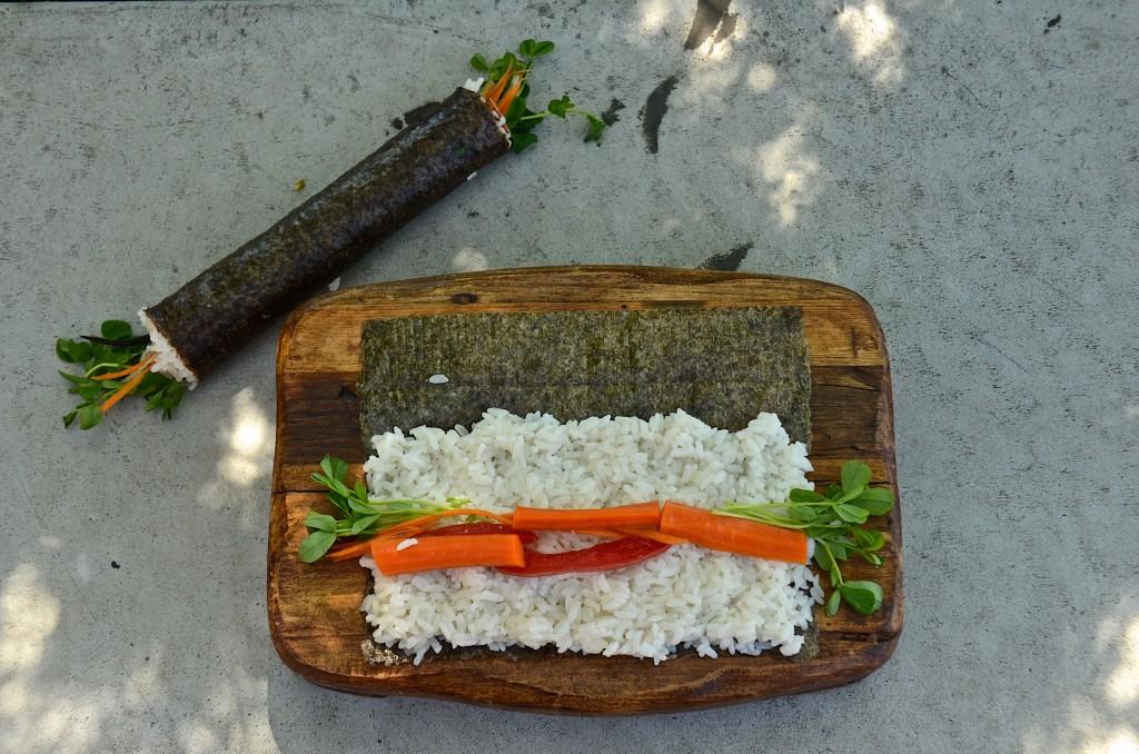 Making garden sushi rolls