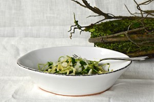 """Zucchini """"pasta"""" with pea shoots"""