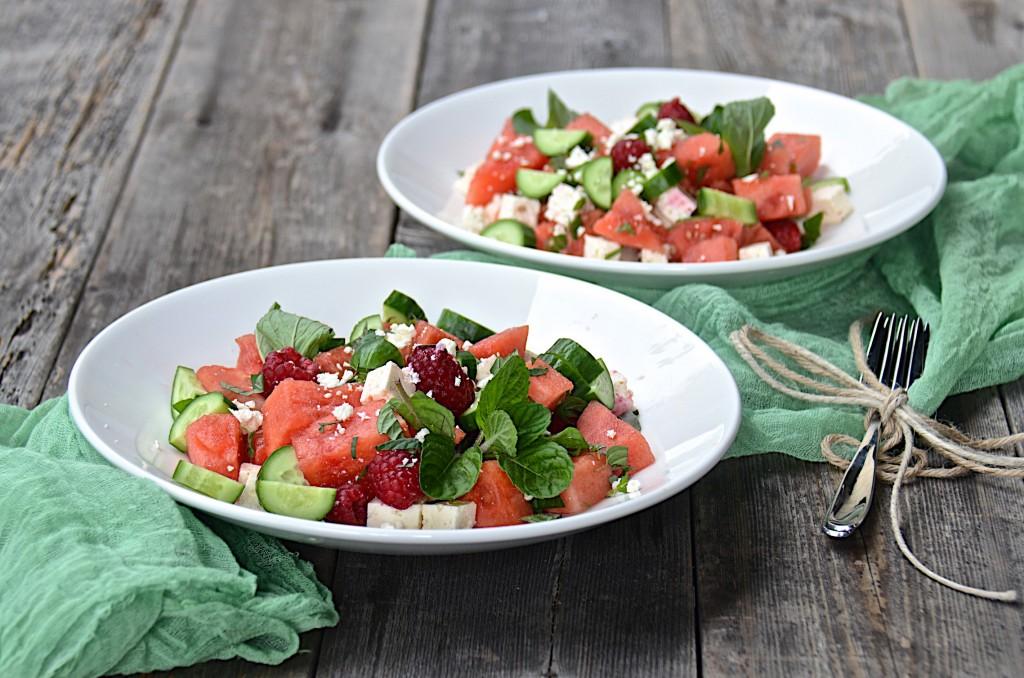 Watermelon cucumber salad with balsamic glaze