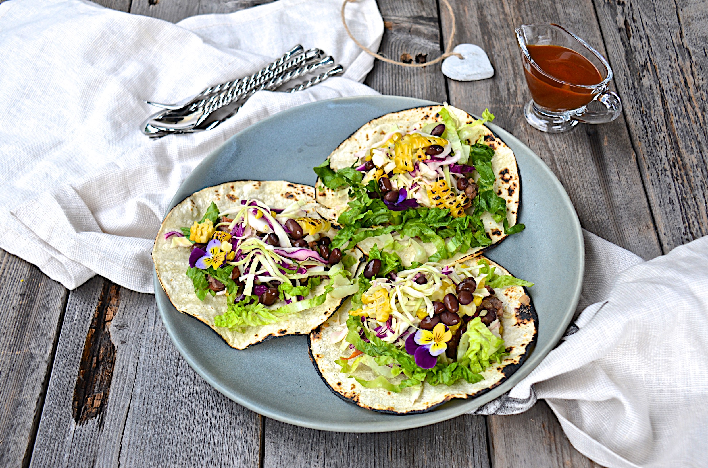Black bean tacos with lime agave slaw