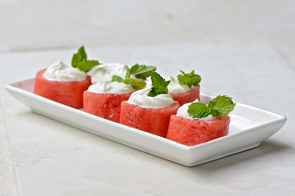 Watermelon bites with feta cheese mousse