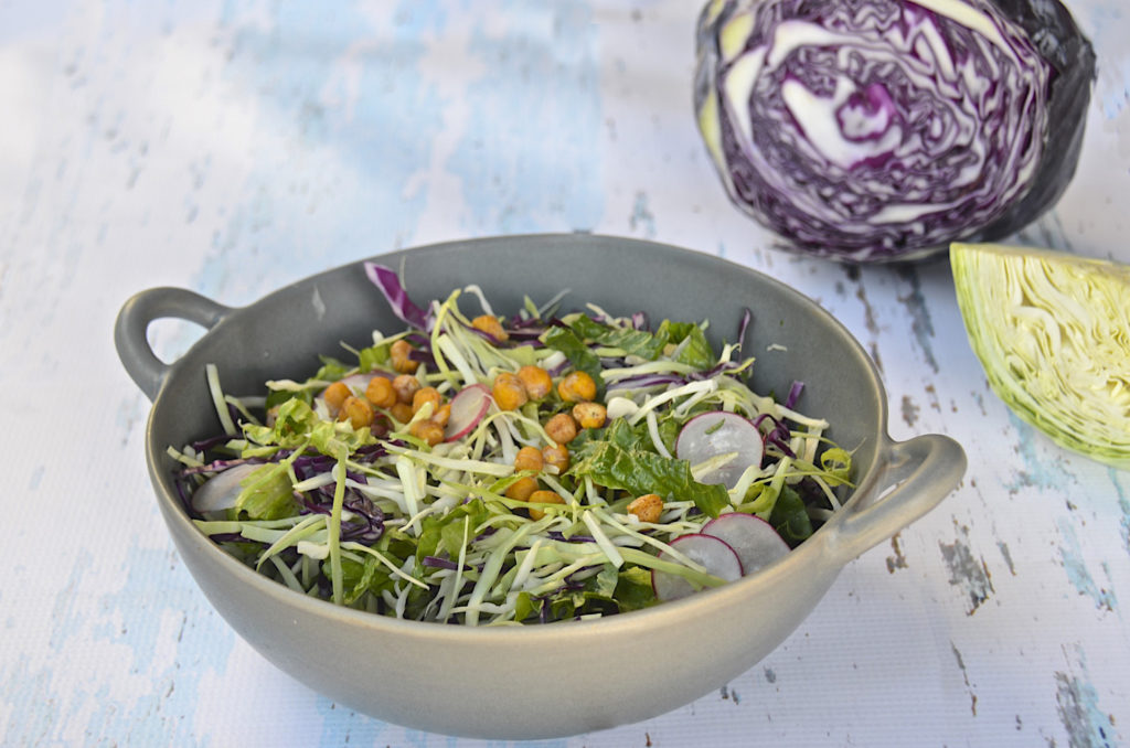 Shredded salad with roasted chickpeas