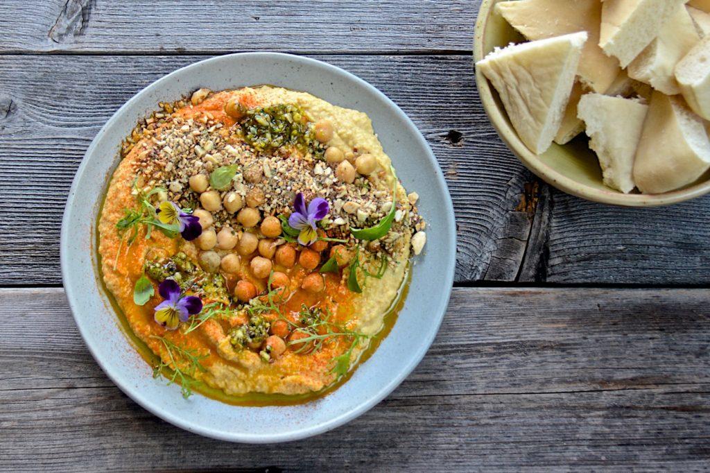 Yellow beet hummus with dukkah