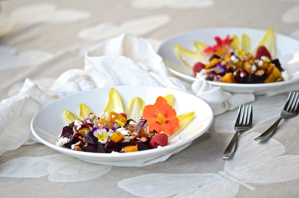 Red and golden beet salad with walnut-balsamic vinaigrette