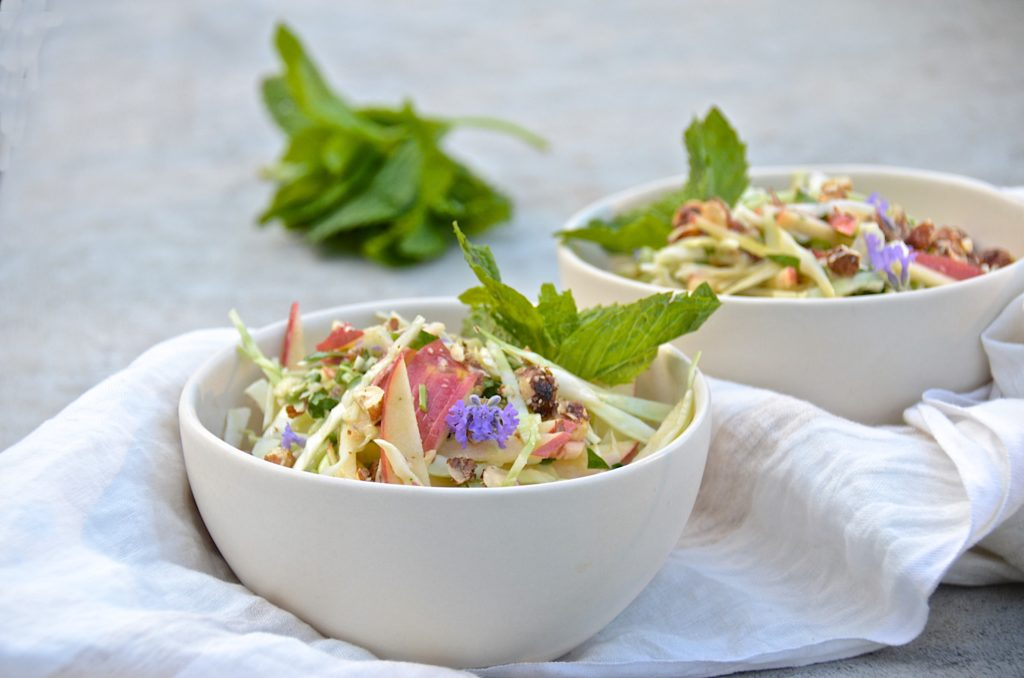 Cabbage-apple slaw with mint, candied hazelnuts and lavender