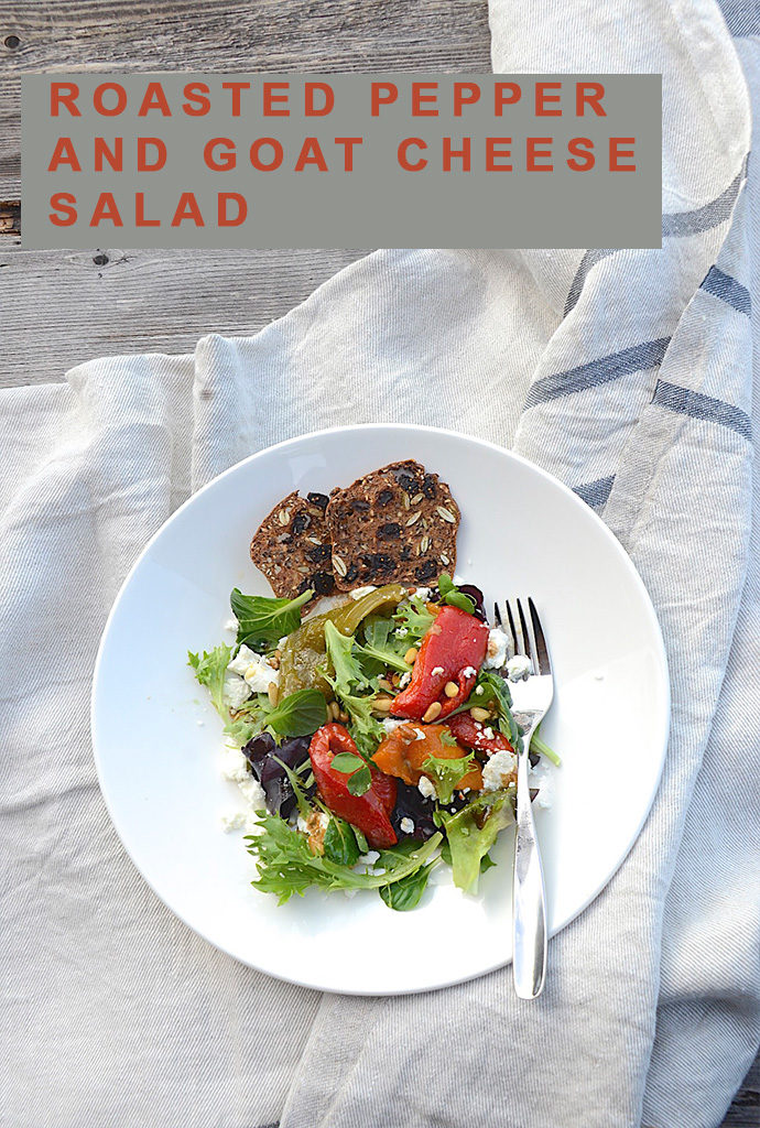 Roasted pepper salad with goat cheese