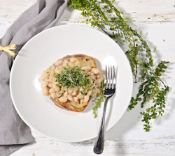 Tuscan beans on grilled bread