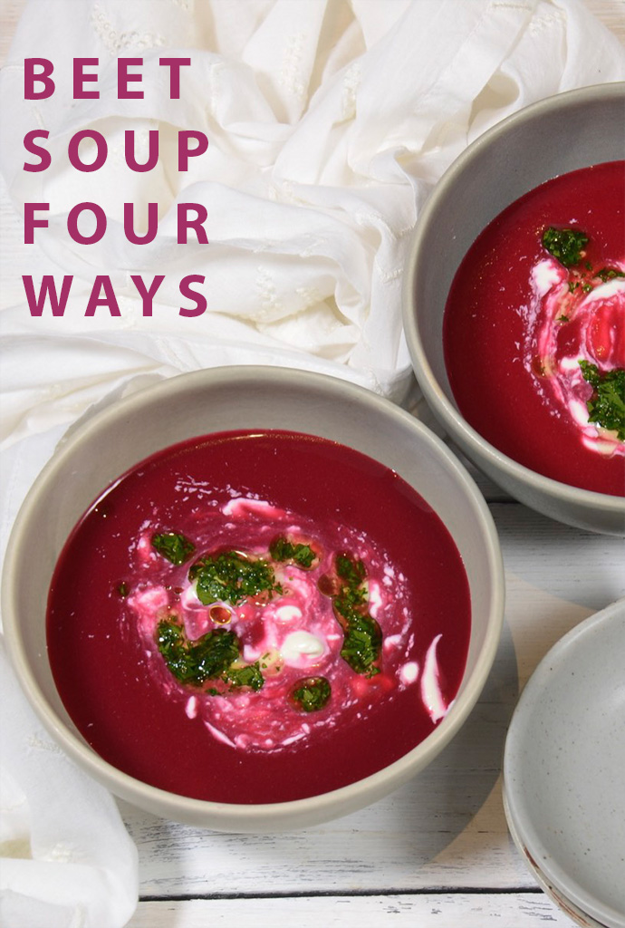 Silky beet soup with creme fraiche