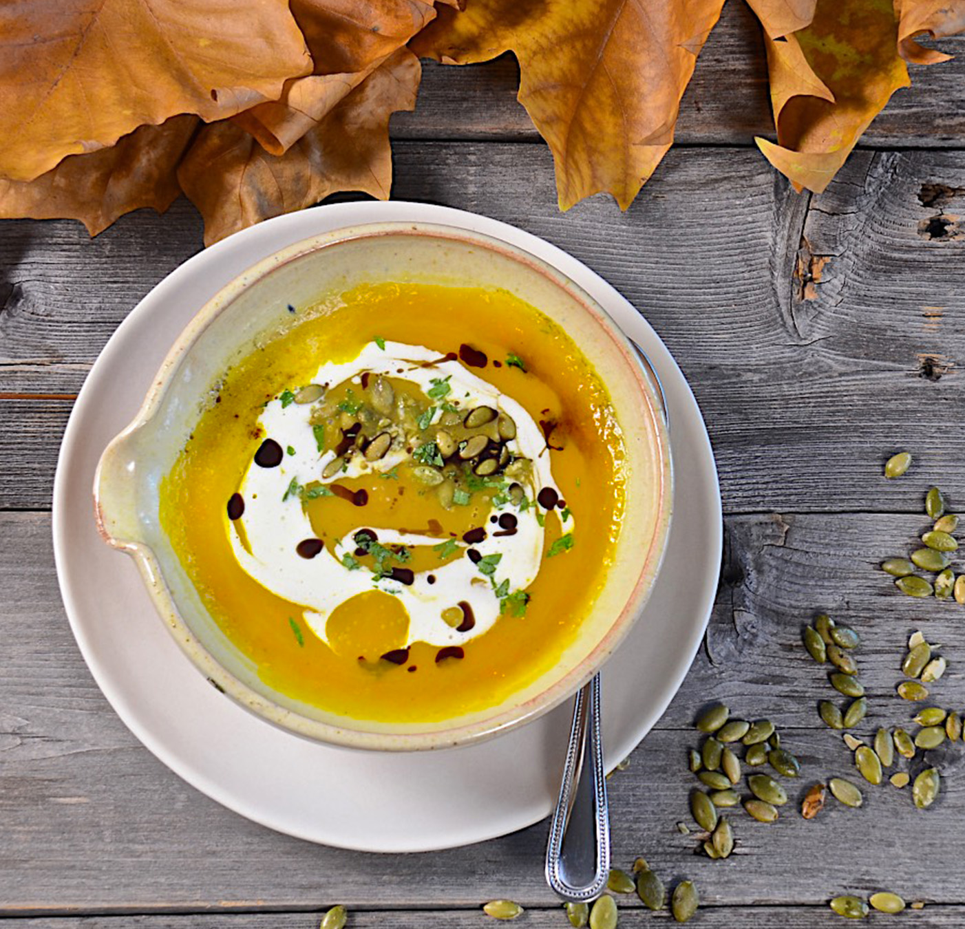 Roasted winter squash soup with creme fraiche
