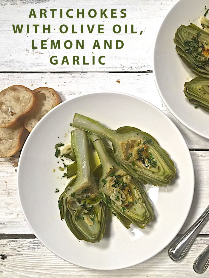Artichokes with olive oil, garlic and lemons