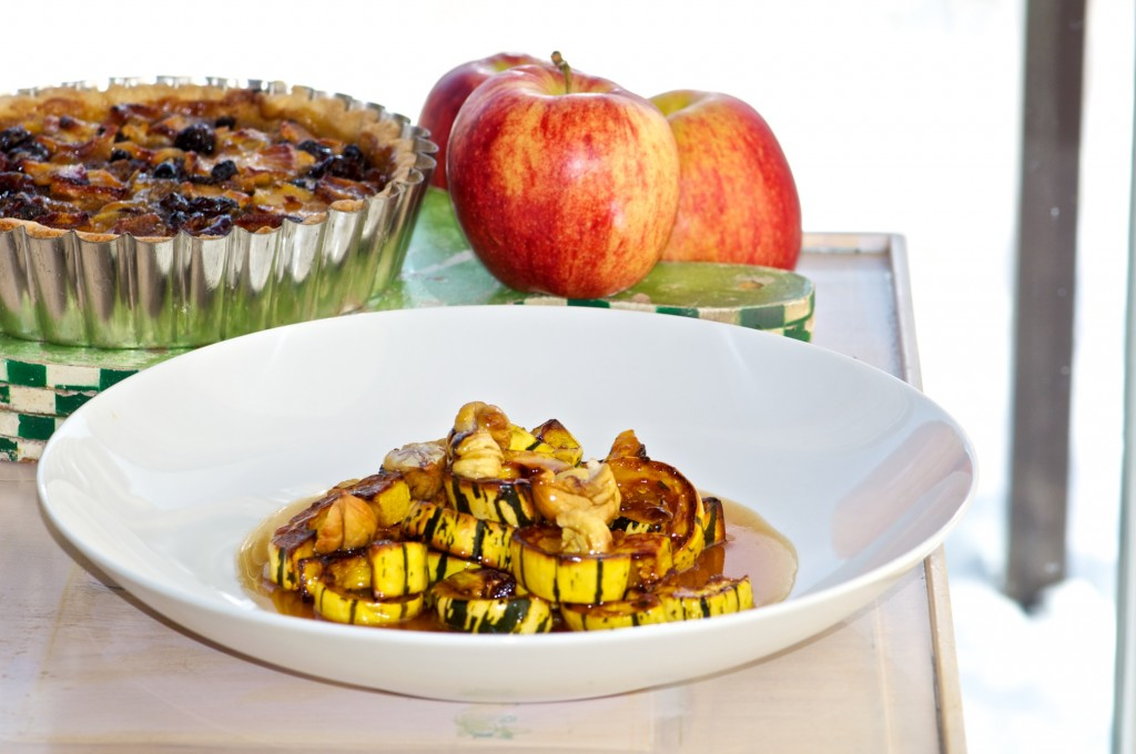 Roasted delicata squash with chestnuts