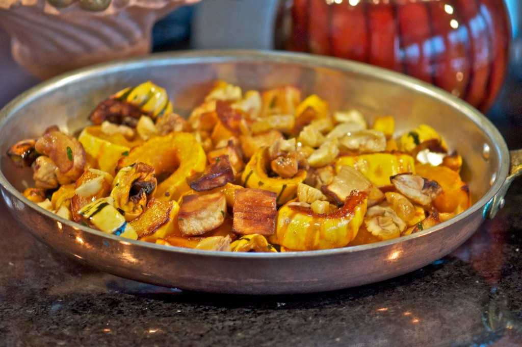 Roasted delicata ac squash with chestnuts