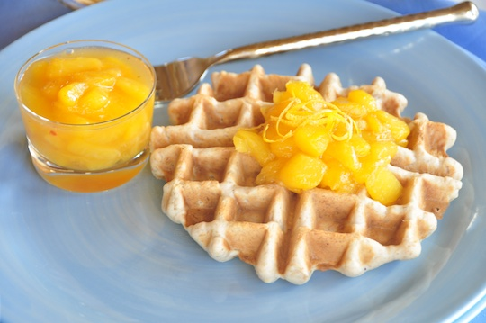 Vegan Oat Waffles with Peach Sauce | Olive Oil and Lemons | Dina Honke