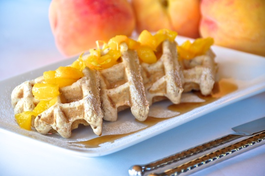 Vegan Oat Waffles with Peach Sauce | Olive Oil and Lemons ...