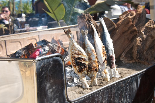 Grilled fish on the beach