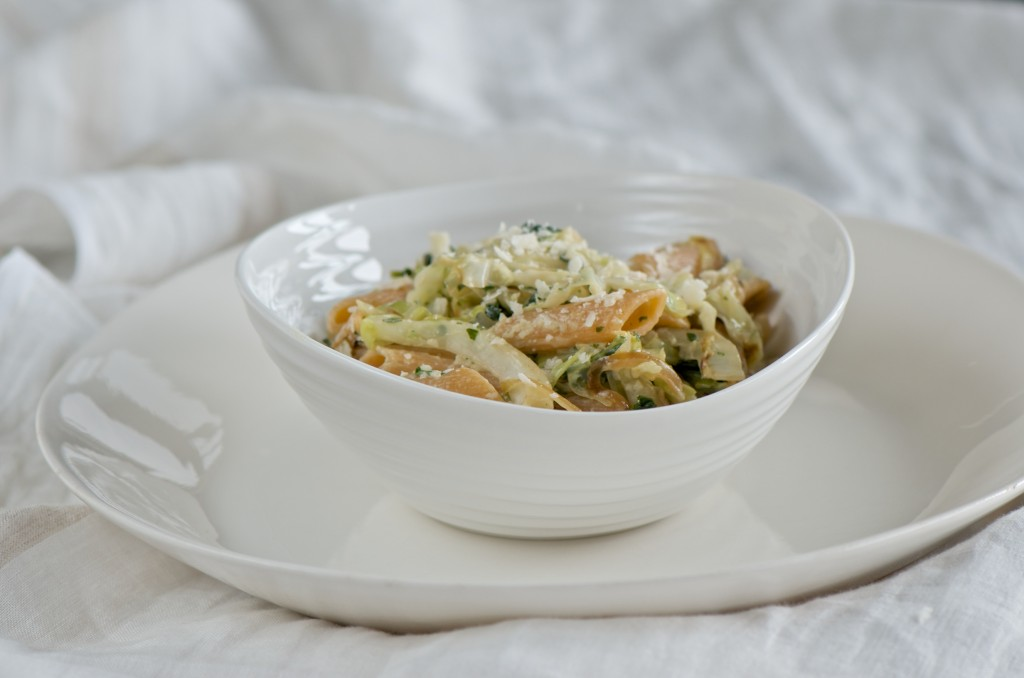Penne with cabbage and kale
