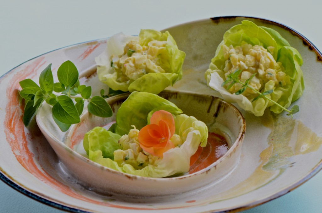 Egg and potato salad in butter lettuce cups