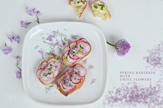 Radish and chive flower baguette slices