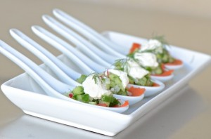 Smoked salmon with cucumber-radish salad